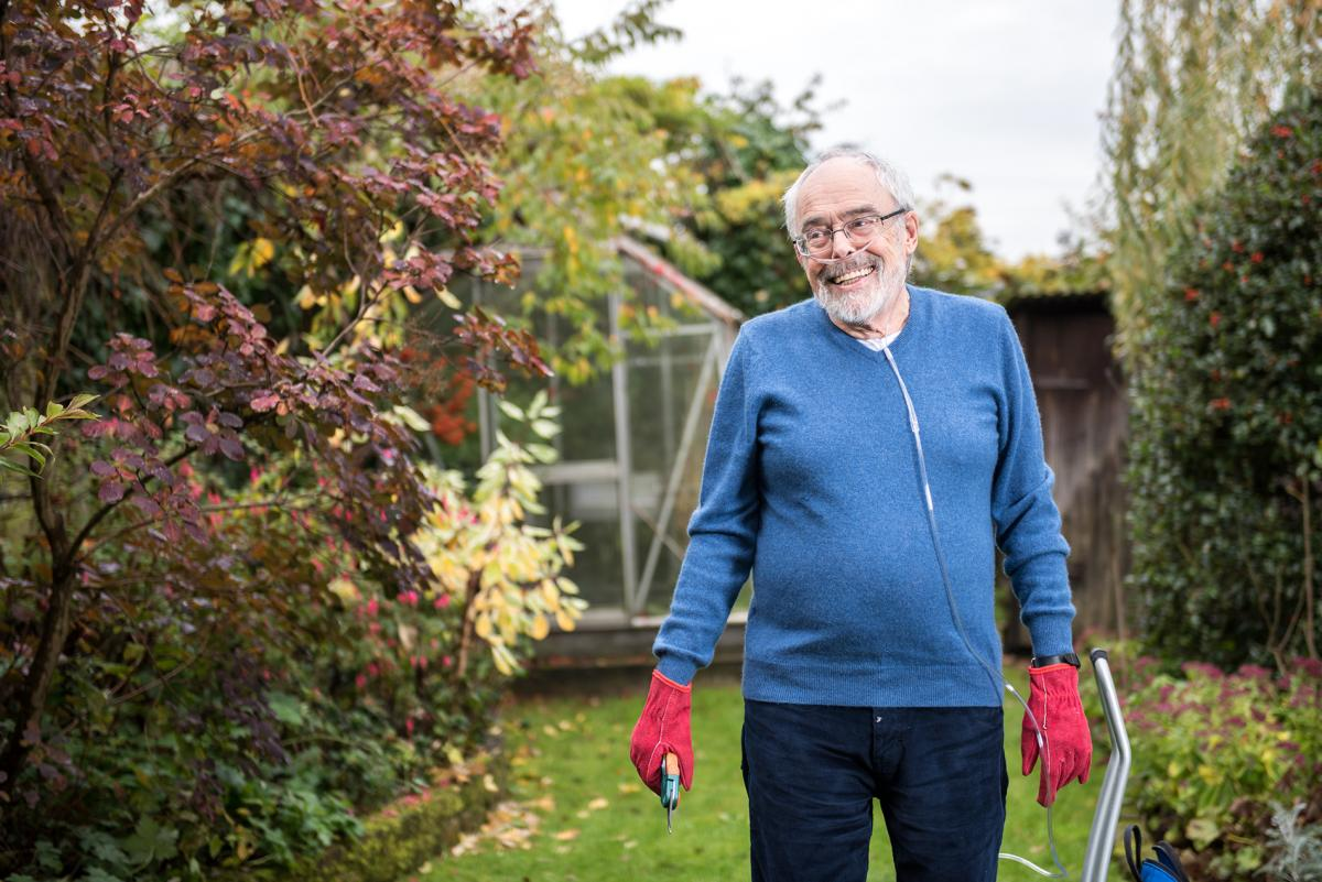 Chris Warbuton with cannula in garden