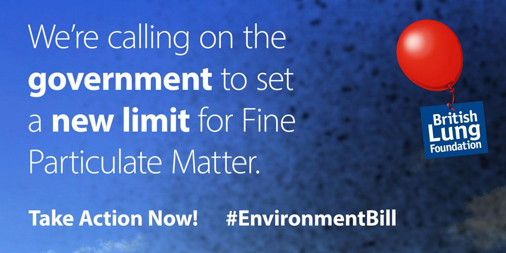 Graphic that says we're calling on the government to set a new limit for fine particulate matter