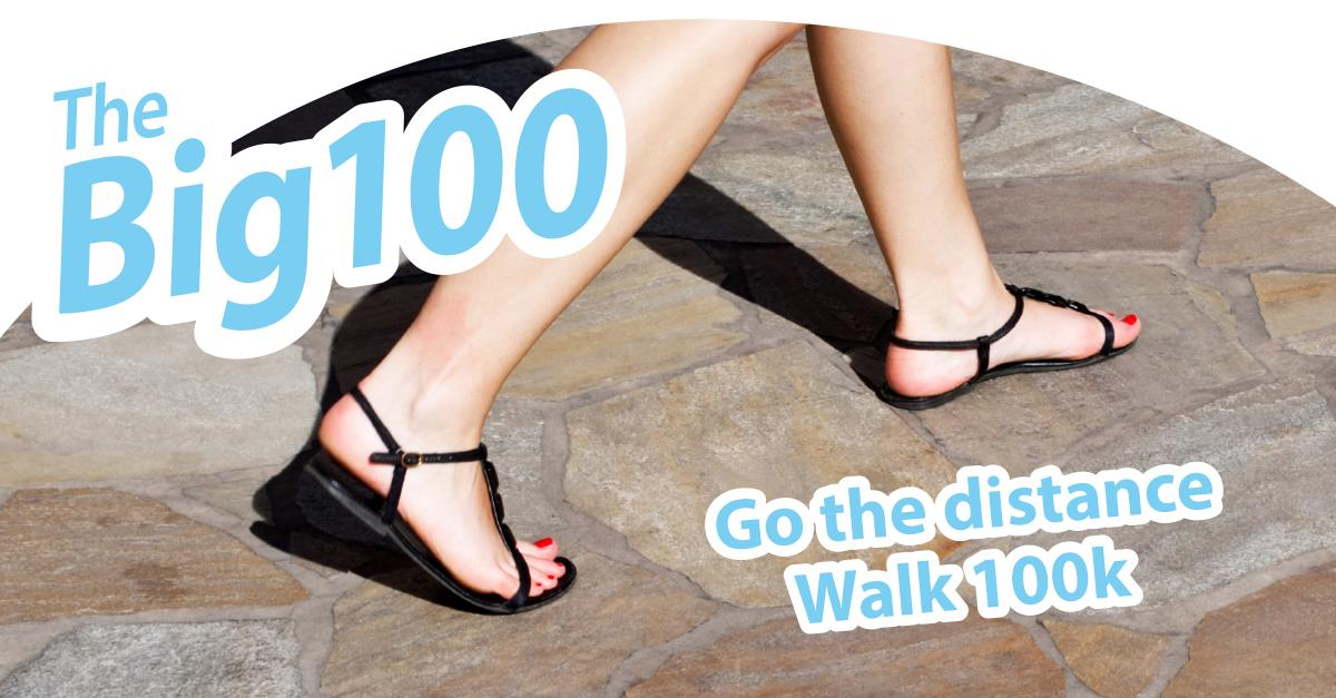 Big 100 logo with person in pumps walking