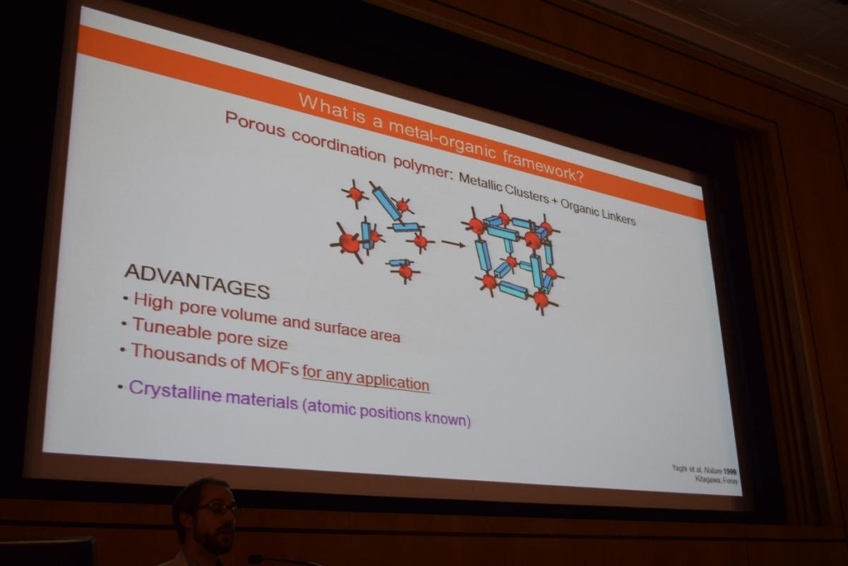 A slide about metal-organic frameworks showed at the 2019 MRN research day