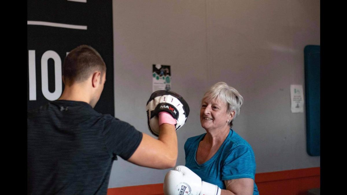 Maggie, who lives with IPF, boxing