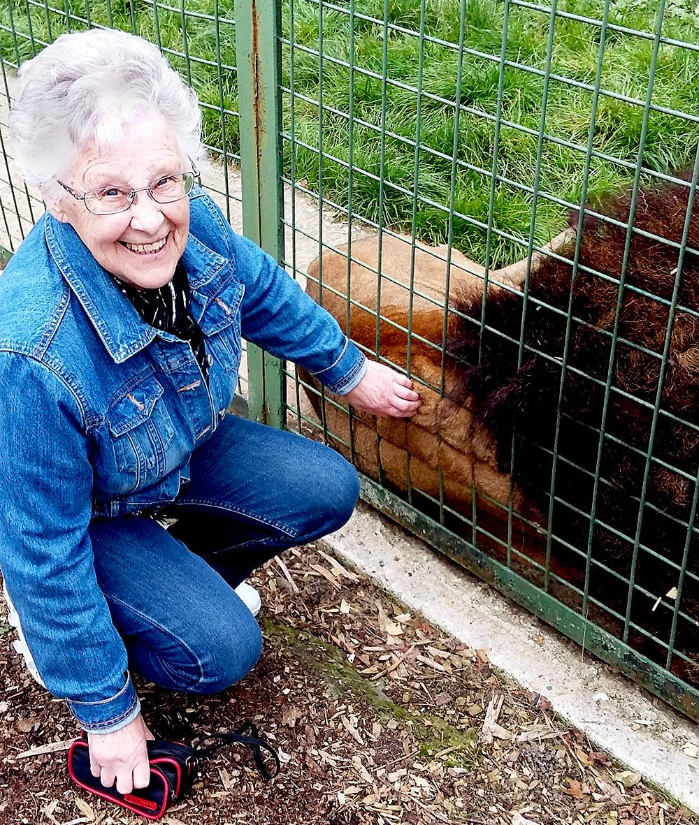 Mary Campbell with a lion
