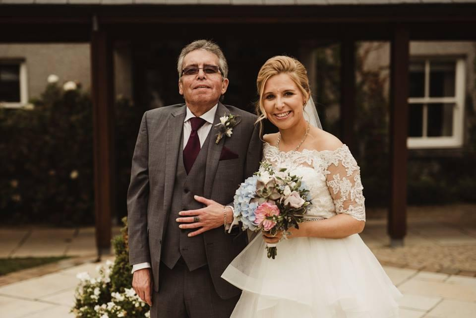 Rachel and her dad on her wedding day