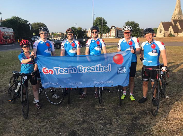The Ride London to Paris cycle team waiting to start depart from Blackheath common in London on the morning of the first day