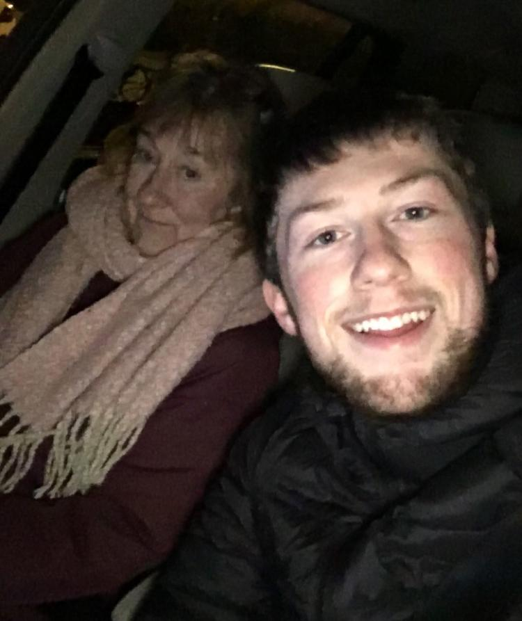 Stephen and his mum on a drive