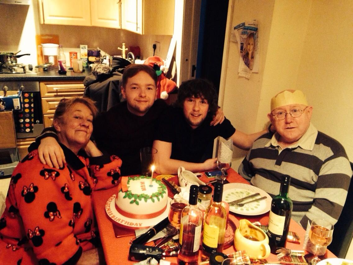 Stephen and his family on Christmas Day - British Lung Foundation