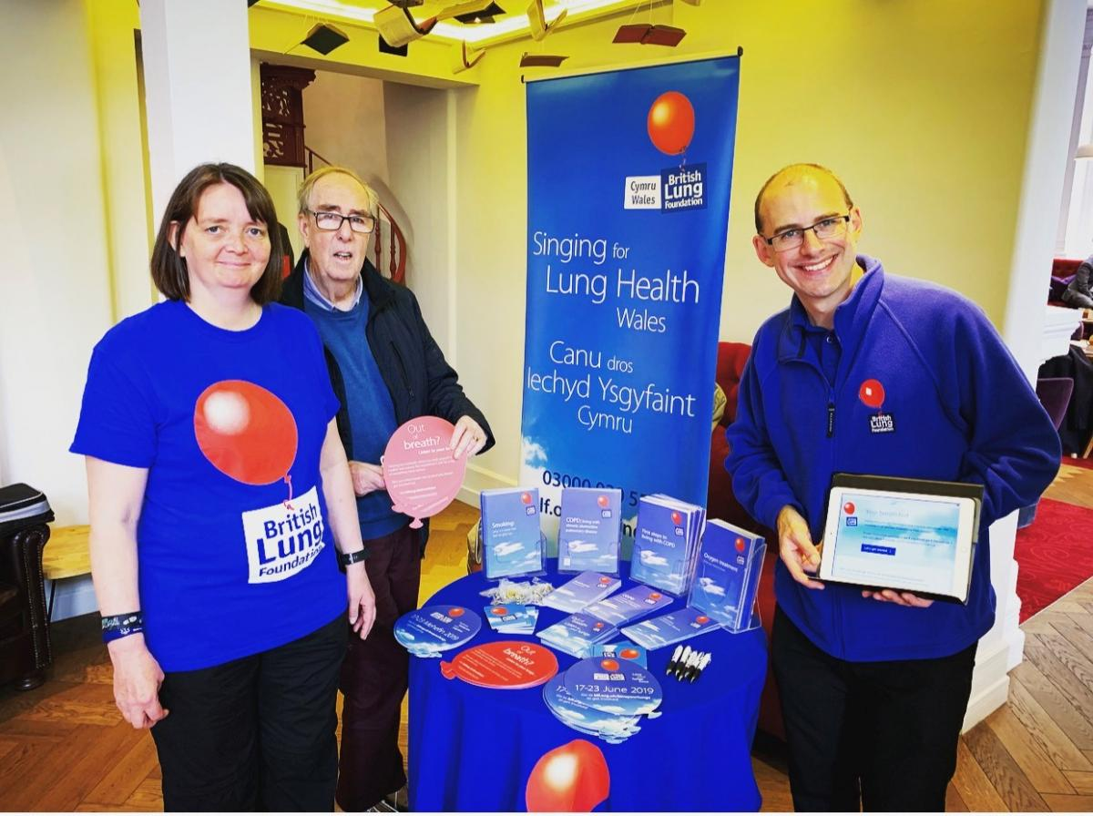 Tracy at a singing for lung health event