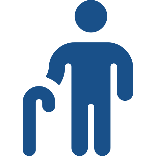 Icon illustrating people in the 65 years and over age bracket