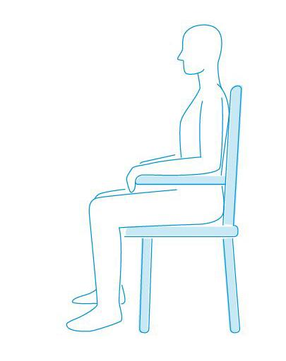 Breathing position - sitting upright in a firm chair