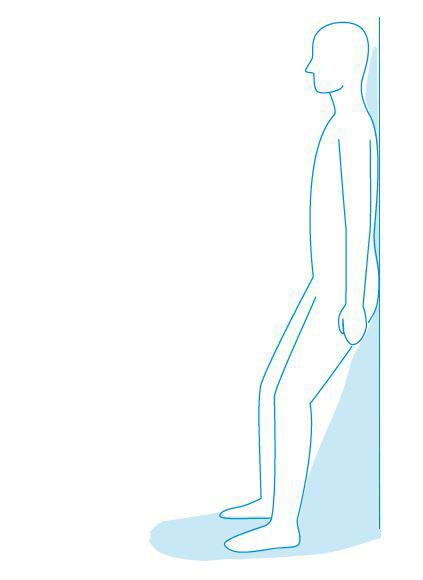 Breathing position - stand leaning back or sideways