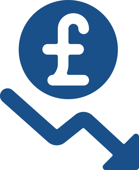 Icon illustrating a decrease in spending