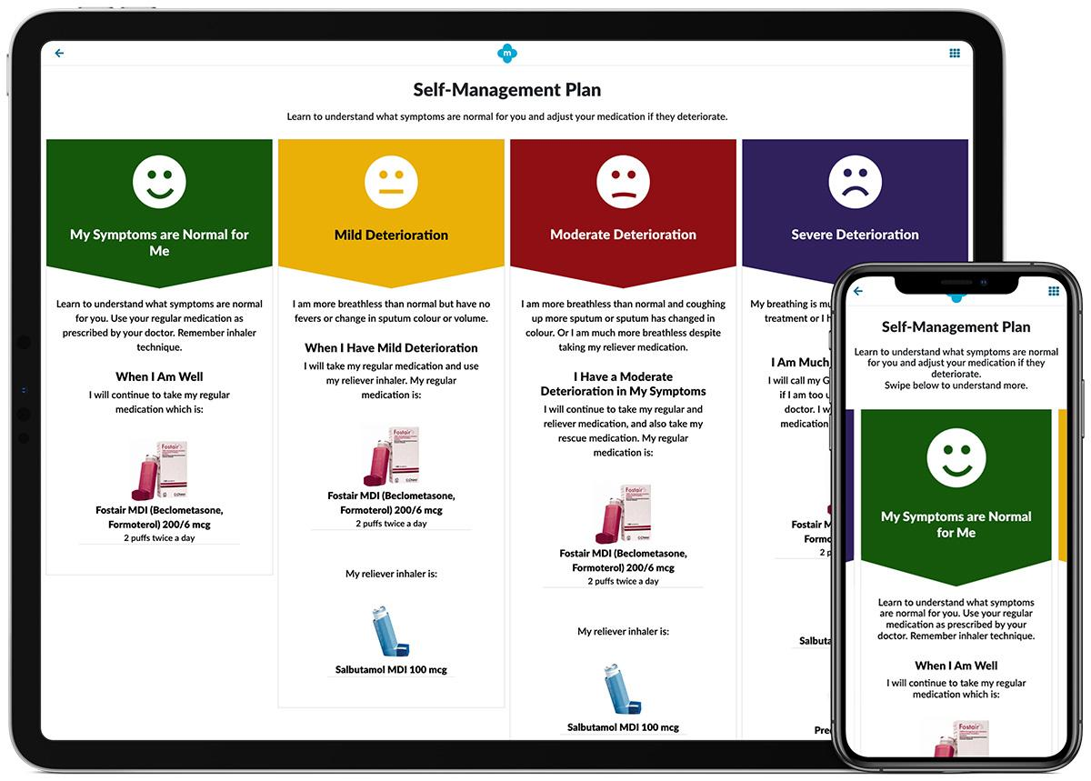 Screenshot of the self management app in MyCOPD
