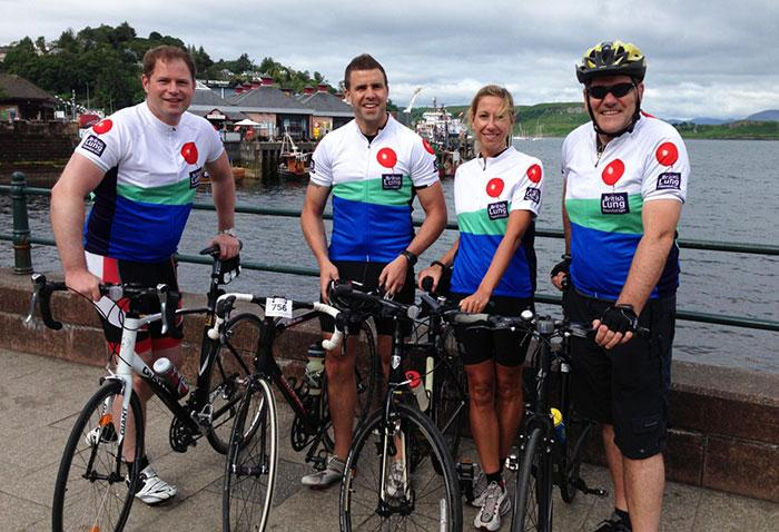 British Lung Foundation cycling team start in Oban, Scotland