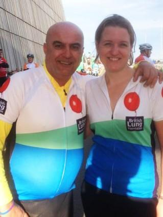 Ron Flewett and Ruth Sabella cycle RideLondon