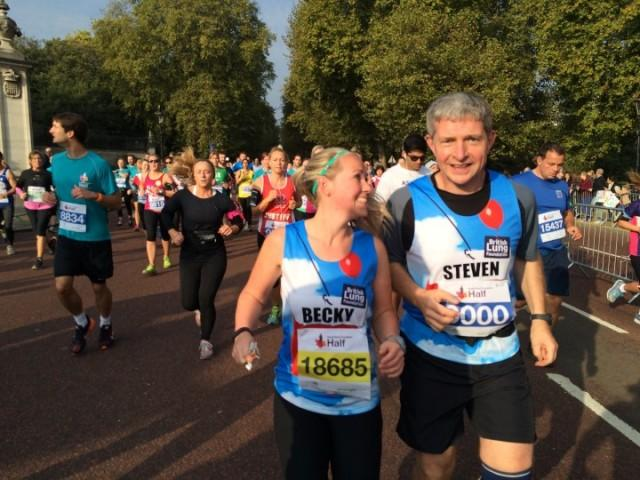 Becky Jones and Steven Wibberley running Royal Parks half marathon for Team Breathe