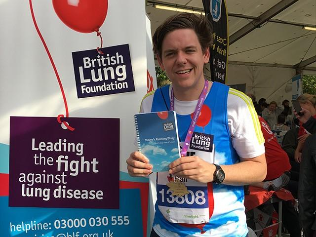 Steve Garside with diary running Royal Parks half marathon for Team Breathe