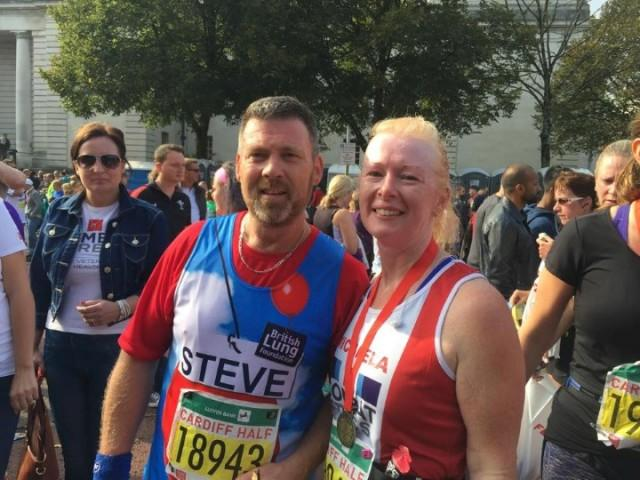 Steve and wife after running Great North Run half marathon for Team Breathe