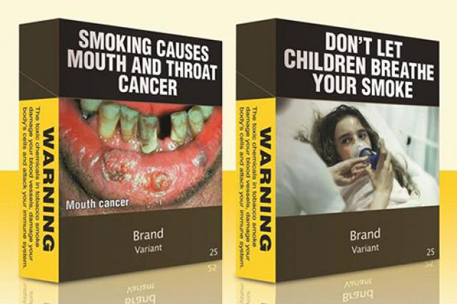 Plain packaging for cigarettes
