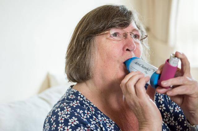 Using an inhaler and spacer for asthma