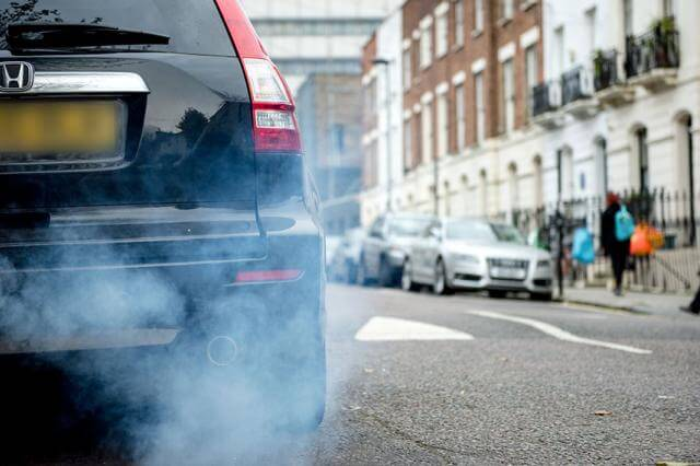 Car exhaust causing air pollution