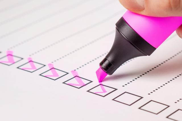 Checklist with pink highlighter