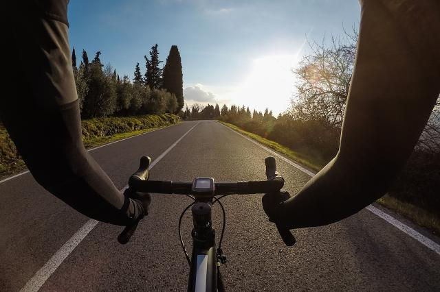 perspective from cyclist handlebars