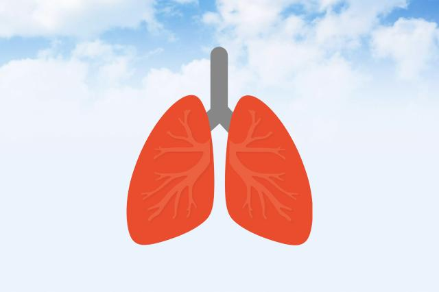 lung emoji on sky background